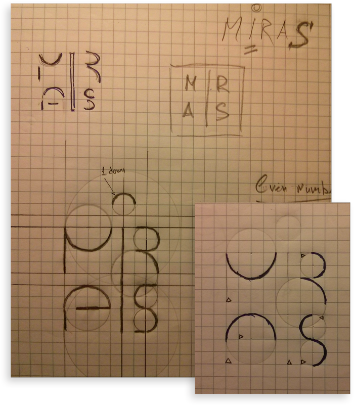 Miras logotype sketches